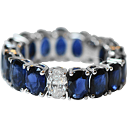 Natural Sapphire and Diamond 18k Eternity Ring.