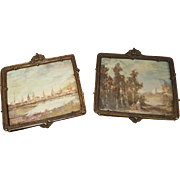 precious pair Oil painting  pictures from munich artist miniatur,ca.1900/1910 - Red Tag Sale Item