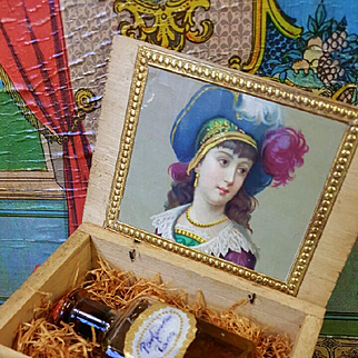 Extremly rar French  Parfum bottle in a tiny  Wax sealed wooden Box  before 1900