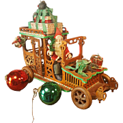 Santa Claus comes with the oldsmobile,,Fretwork,,Germany 1920/30  Candybox.