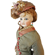 French Fashion Doll ,,Francois Gaultier,,in antique dress 1885  paris  11 inches