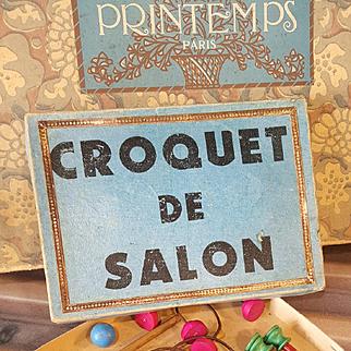 Antique  fashion doll game,,Croquet de Salon,, Paris  about 1900