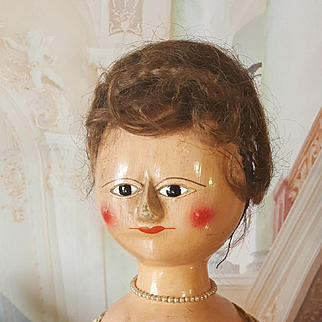 Rar Queen Anne Doll  wooden  all original 1760/80