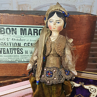 All Original Early Grodnertal Doll with factory original  Oriental  Robe 1860/80