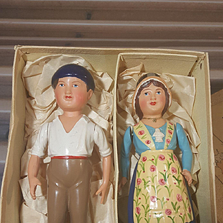 Wonderful pair of tradionell french celluloid doll