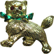 Vintage  Goldtone Kitty Brooch