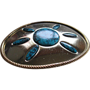 Belt Buckle Brass/Nickel Plate Faux Turquoise (Simulated)