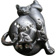 Pewter Cat Brooch with Post Cat Earrings