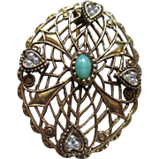 Filigree/Faux Pearl/Green stone Brooch