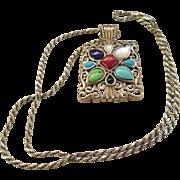 925 Silver Multi Colored Stone Necklace