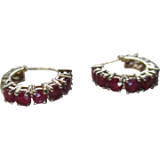14 kt Gold/Ruby Latch Back Earrings