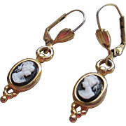 Vintage Goldtone Cameo Earrings