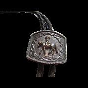 Western Silver tone Bolo Tie/ Leather