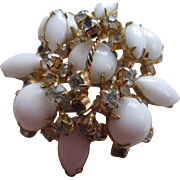 White Milk Glass Marquise/Round Cut Brooch