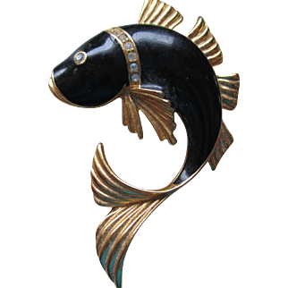 SAL/Swarovski Black Enamel-Goldtone Coy Fish Brooch