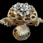 Vintage Goldtone and Rhinestone Pin/Pendent