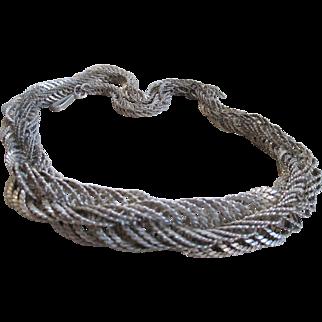 Vintage Bayadere Silvertone Necklace
