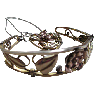Lewis Stern 1950s Cuff Bracelet and Heart Necklace