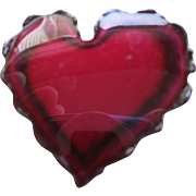 Collectible Lacquered Red Heart Pin