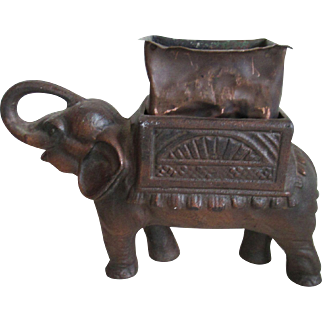 Collectible Brass Elephant Planter-Trunk Up