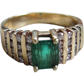14 k Emerald/Diamond Paved Ring