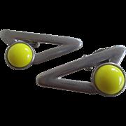 Ben-Amun Clip On Yellow Lucite Earrings