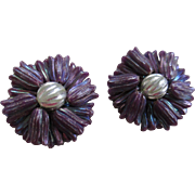 Hong Kong Vintage Iridescent Plastic Clip Earrings