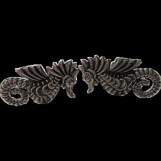 Seahorses Mexico Silver Twist Back Earrings