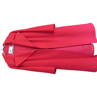 100% Cashmere 1960s Red Long Coat
