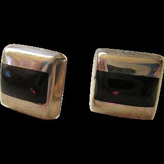 925/Sterling Pair of Black Onyx Post Earrings