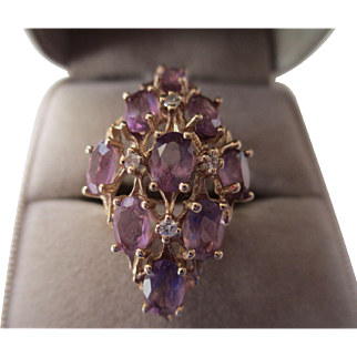 Amethyst/Diamond 14 k YG Dinner Ring