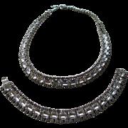 Vintag 1980's Baguett Necklace and Bracelet Set