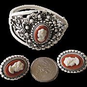 White Enamel Cameo Bracelet/Clip Earrings