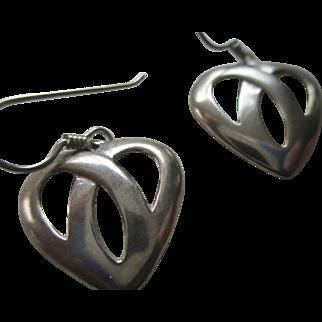 Silver 925 Heart Wire Earrings