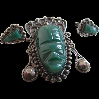 Vintage 925 Silver (mexico)  Aztec Warrior Mask Brooch/Earrings
