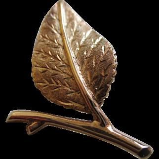 14 k YG Leaf Brooch