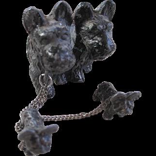 Miniture Spelter Metal Scottie Dog Family