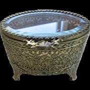 Vintage Brass Lace Filigree Trinket Box