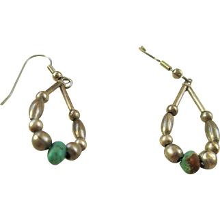 Sterling Silver 925 Wire Loop Bead Earrings