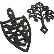 J.Z.H.1951-1952 Cast Iron /Sad Iron Trivet & Family Tree - Red Tag Sale Item