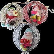 Vintage  (set 3)Pinecone Gnome or elf Christmas Ornaments.