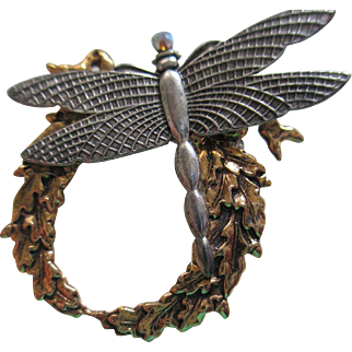 Vintage Dragonfly/AB Stone and Wreath Brooch