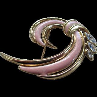 Trifari Pink Enamel /Rhinestone Brooch