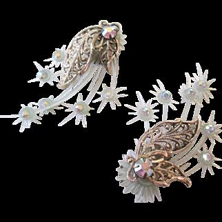 10 Kt YG-Austria AB Crystal Stone Clip Earrings