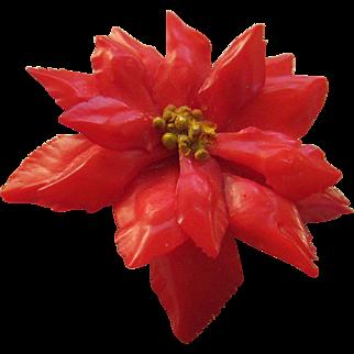 Celluloid Christmas Poinsettia  Brooch