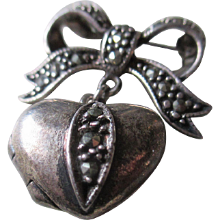 925  Silver/Obsidian Heart Brooch and Locket