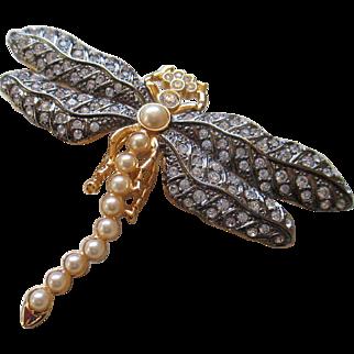 KJL Dragon Fly- Faux Pearls/ Rhinestone Brooch