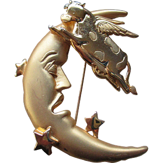 JJ Jewelry The Cow Jumped Over the Moon Brooch
