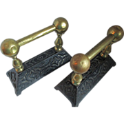 1900 Pair of Cast Iron and Brass Andirons or Tool Rests