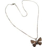 14 k t  Petit Butterfly (3 sm diamond) 14 kt Gold Chain Necklace